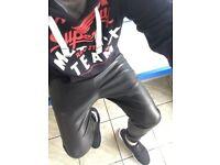 Men's Zara Faux Leather Joggers Size 34