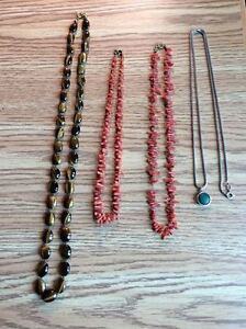 ANTIQUE JEWELRY!  (NECKLACES: CORAL/TIGEREYE/STERLING SILVER).