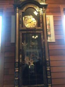 Grandfather Clock Black Lacquer -Mother of Pearl -BEAUTIFUL