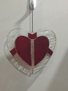 Hand made stained glass Valentine hearts