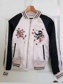 Topshop UK 4 PETITE Embroidered Dusky Pink Bomber Jacket coat Oriental Fish Floral