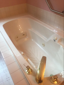 whirlpool jet bath and vanity with sink and hardware