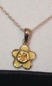 Young Ladies Solid Gold enamel and citrine ring and necklace set