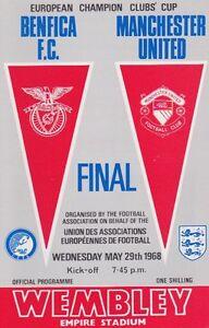 1968 EUROPEAN CUP FINAL BENFICA v MAN UTD MINT PROGRAMME MANCHESTER