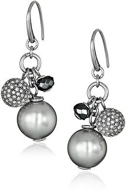 NEW-FOSSIL SILVER TONE BEADS,GLITZ,CRYSTAL,BALL,HOOK EARRINGS-JF01977040