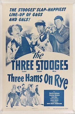 THREE HAMS ON RYE THREE STOOGES MOVIE POSTER ONE SHEET