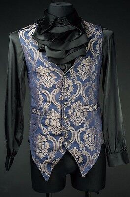 Dracula Clothing Blue Gold Royal Long Vest Brocade Gothic Steampunk See Listing