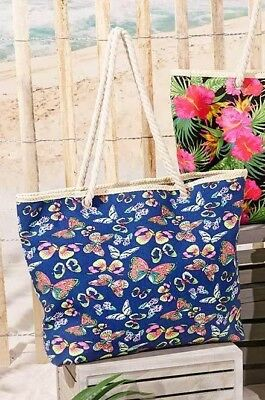 Butterfly Canvas Tote Bag Oversized Zippered Fully Lined Rope Handles Shopping A