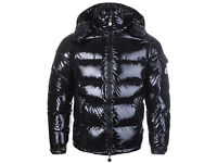 BRAND NEW - MENS Moncler Maya Down Shiny Black Jacket Detachable Hood - SIZE 4 MEDIUM/LARGE