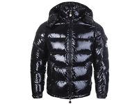 BRAND NEW - MENS Moncler Maya Down Shiny Black Jacket Detachable Hood - SIZE MEDIUM AND LARGE