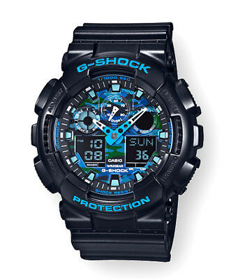 Casio G-SHOCK GA100CB-1A XL Cool Blue Series Black Camo Resin Ana-Digi Watch