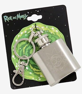 Cartoon Network Rick And Morty Stainless Steele Flask Keychain New With Tags!