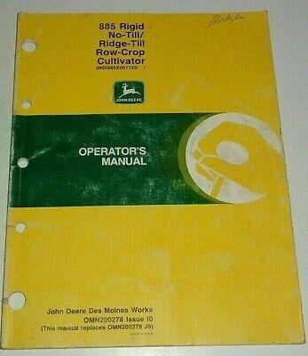 John Deere 885 Series No-till Ridge-till Row Crop Cultivator Operators Manual