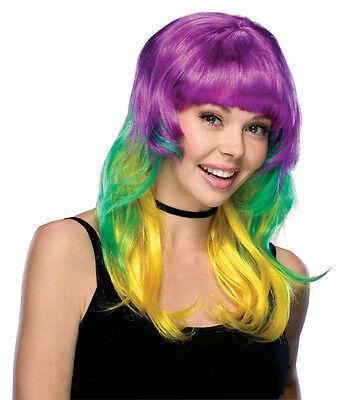 Mardi Gras Long Layered Multi Colored Wig with Bangs](Mardi Gras Wigs)
