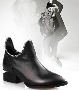 Black-Womens-Real-Leather-Low-Heel-U-Chain-Ankle-Boots-Shoes-SIZE-US5-9-5