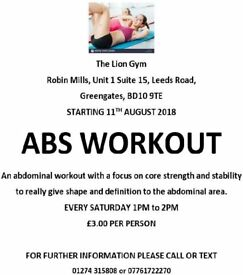 ABS Workout ( The Lion Gym) Sat 1-2pm
