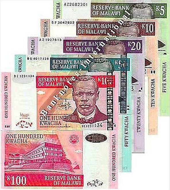MALAWI 5 NOTE SET 5 10 20 50 100 KWACHA UNC