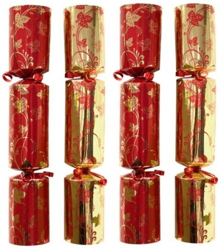 Bulk Pack Catering Large Christmas Crackers Box of 50 Luxury Red & Gold crackers