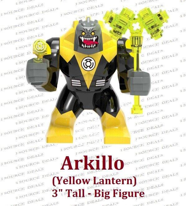 New Custom LEGO Minifigure DC Supervillain Yellow Lantern Arkillo Green Lantern