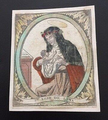 Antique Handkoloriertes Holy Icon st Rose de Lima