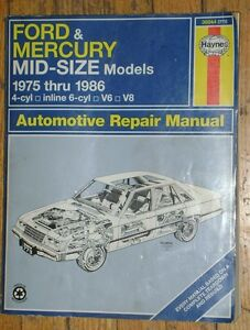 HAYNES - AUTOMOTIVE REPAIR MANUAL - FORD & MERCURY 1975-1986.