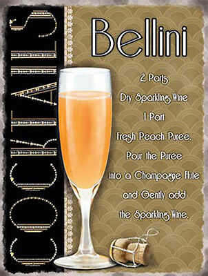 Bellini Cocktail Recipe, Pub Hotel Wine Bar Peach Drink, Small Metal Tin Sign (Peach Bellini Cocktail Recipe)