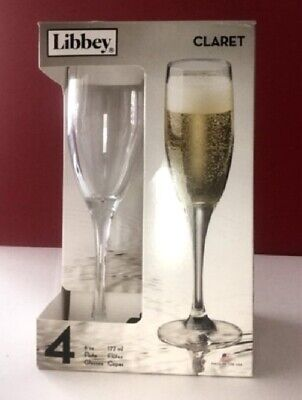 6 oz Champagne Flutes/ Claret Glasses Libbey Set of 4 in Original Box