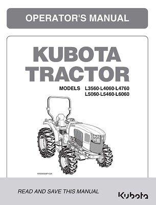 Kubota L3560 L4060 L4760 L5060 L5460 L6060 Tractor Operators Manual Cab Supple