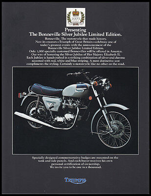 1977 TRIUMPH BONNEVILLE 750 SILVER JUBILEE MOTORCYCLE BROCHURE POSTER T140 NOS