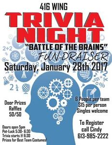 TRIVIA NIGHT FUNDRAISER & POT LUCK SUPPER Kingston Kingston Area image 1