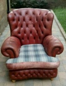 Vintage Leather Chesterfield wingback chair