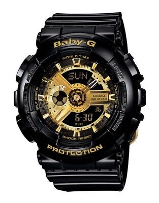 Casio BABY-G BA110-1A Tandem Series Women's Black Gold Analog Digital Watch