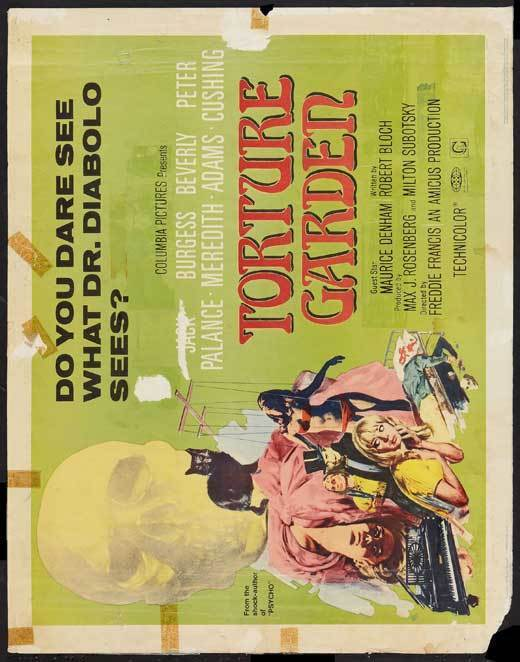 TORTURE GARDEN Movie POSTER 22x28 Half Sheet B Jack Palance Burgess Meredith