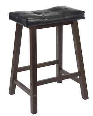New Wood Kitchen Counter 1 Bar Stool Seat Black Leather Modern Stools 24