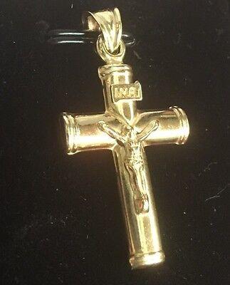 Jesus Christ Crucifix Cross 14k gold layer on 925 SS Flat Round Pendant Charm Flat Gold Crucifix Cross