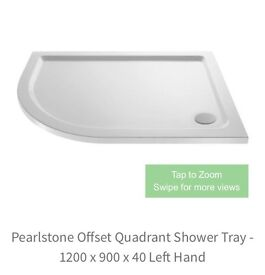 Pearlstone Offset Quadrant shower tray 1200x900 left hand side