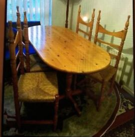 Very sturdy well made solid pine dining table/4chairs