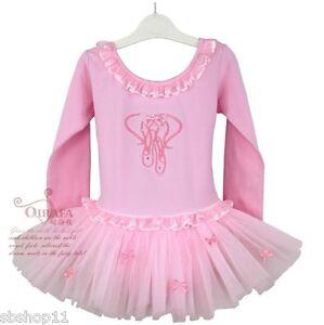 NWT-Girls-Toddler-Kids-Tutu-Dance-Ballet-Dresses-Leotards-Long-Sleeves-Pink-1-5T