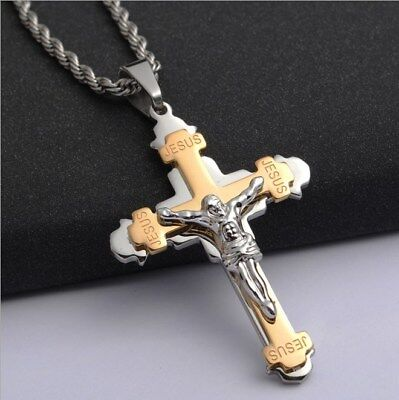 """20"""" Chain Stainless Steel Two-tone Layered Cross Jesus Crucifix Pendant Necklace Chain Two Tone Crucifix"""