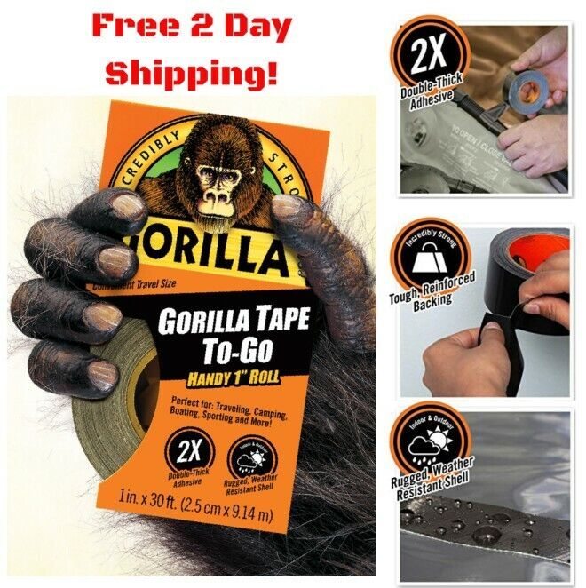 Gorilla Glue 6100102 1-Inch X 30-Feet Black Gorilla Tape Han