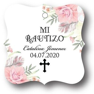 24 Mi Bautizo Floral Personalized Favor Tag - Wedding Favor Tags