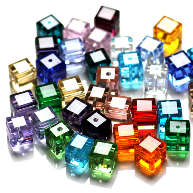 wholesale cube crystal glass loose beads fot