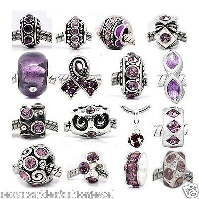 Ten 10 of Assorted Shades of Purple Crystal Rhinestone Feb- Birthstone-#104 Charms & Charm Bracelets