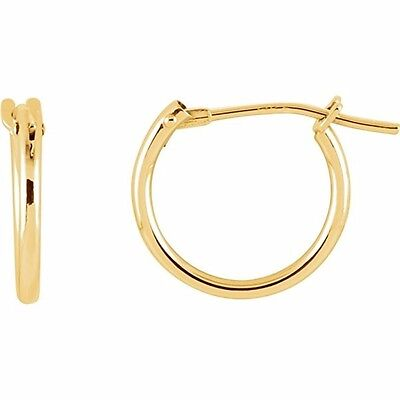 14K Gold Tiny Small 12 mm High Polished Round Thin Lightweight Hoop Earrings