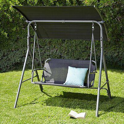 Garden Swing Chair 2 Seater Patio Bench Black Canopy Garden Swing - Black