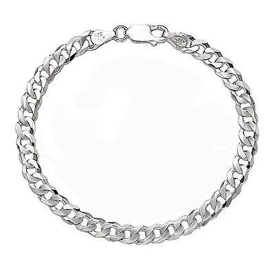 "8"" Pure Sterling Silver Italian 4mm Cuban Curb Link Chain Bracelet Mens Women's"