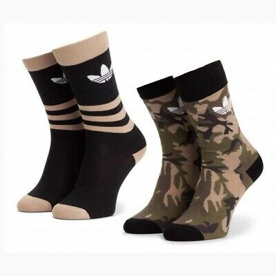 Adidas Originals Camouflage Trefoil Crew Socks 2 Pack Long Shoe Liner DV1501