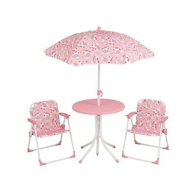 Kids 4 Piece Parasol Unicorn Patio Set with table and chairs FREE DELIVERY