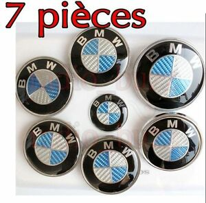 kit 7 badge logo embleme bmw carbone bleu capot coffre volant 4 cache jante ebay. Black Bedroom Furniture Sets. Home Design Ideas
