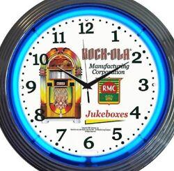 Man Cave Bar Business Clock Pair Retro Neon Rock-Ola and Wurlitzer Jukebox New